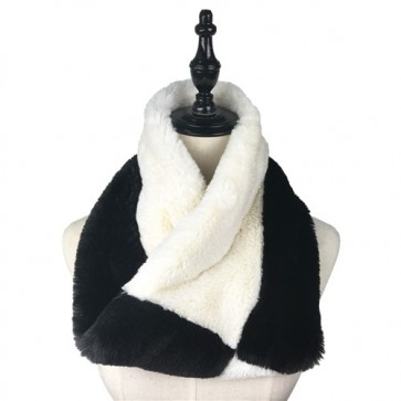 Winter Black & White Splicing Furry Infinity Scarf