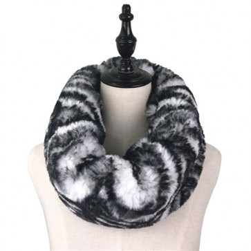 Zebra-Strip Warm Furry Cowl Scarf