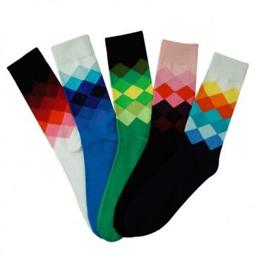 Colorful Unique Plaid Soft Cotton Socks with Gradient