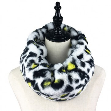 Leopard Print Winter Warm Faux Fur Snood Scarf