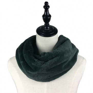 Dark Green Cozy Furry Circle Scarf