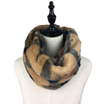 Cozy Plaid Furry Infinity Scarf