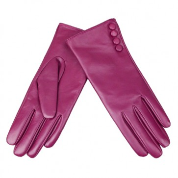 Button Trimmed Women's Fabulous Leather Gloves