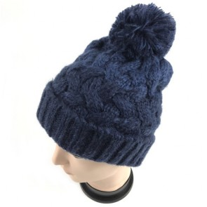 Custom Men's Knitted Beanie with Pom and Fleece Lining Skull Cap