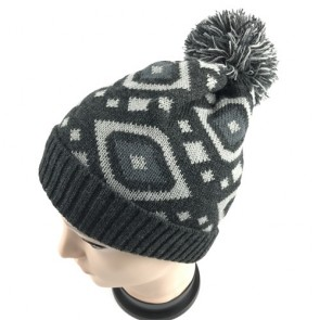 Custom Fleece Lined Knitted Slouchy Pom Pom Cable Beanie Cap Hat