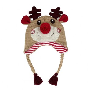 Custom Kids Christmas Reindeer Earflap Hat