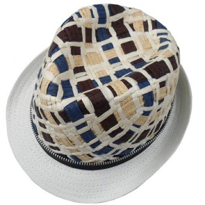 Fashion Zipper Trimmed Men's Trilby Paper Straw Hat