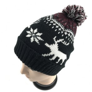 Custom Men's Knitted Bobble Hat with Animal Shape in Dark