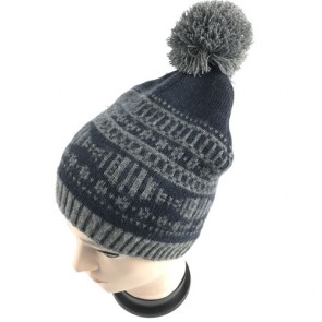 Custom Men's Winter Knitting Skull Cap Wool Warm Slouchy Bobble Hat