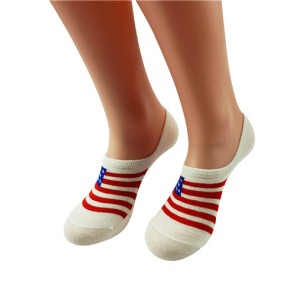 Custom Stars and Stripes Cozy No Show Invisible Socks with Silicon Heel Pad