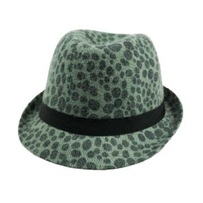 Green Simplicity Animal Tweed Furry Trilby Gothic Fedora Hat