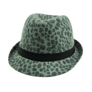 Green Simplicity Animal Tweed Furry Trilby Gothic Fedora Hat