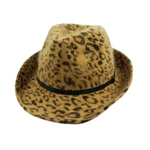 Yellow Simplicity Animal Tweed Furry Trilby Gothic Fedora Hat
