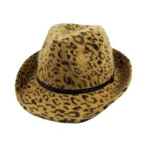 Yellow Simplicity Animal Tweed Furry Trilby Gothic Fedora Hat