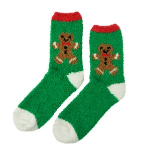 Christmas Gingerbread Cute Warm Winter Fuzzy Socks