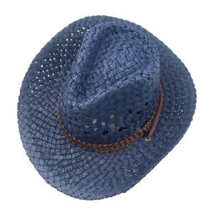 Custom Mens Summer Raffia Hat in Navy with Belt