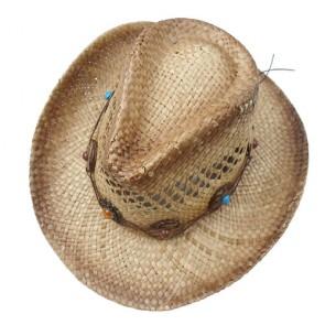 Custom Western Cowboy Straw Hat with Chain
