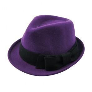 Unisex Fedora Wool Hat in Light Blue with Belt