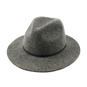 Ladies Wide Brim Fedora hat with Belt in Grey
