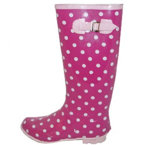 The Kids Girls Polka Rain Boots with Botton for Sale