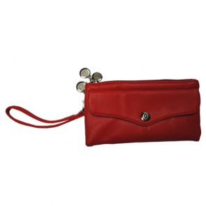 Genuine Leather Women's Large Capacity Red Wallet with Wrist Strap