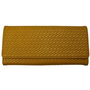 Women's Hand Woven Yellow Premium continental Leather Wallet