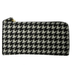 Houndstooth Pattern Zip Continental Wallet