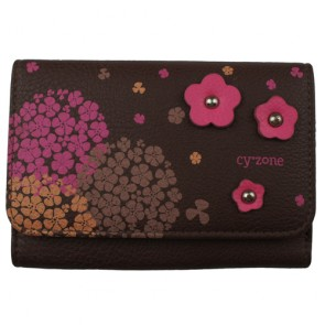 Leather Womens Wallets with Flower Decorations