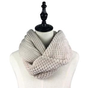 Faux Fur Winter Cozy Crochet Cowl Scarf