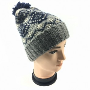 Custom Mens Winter Knitted Crochet Hat Beanie Ball Pompom Ski Bobble Cap