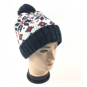 Custom Men's Thermal Knitted Snowflake Winter Bobble Hat