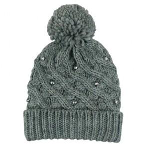 Custom Warm Bead Decorated Bobble Hat
