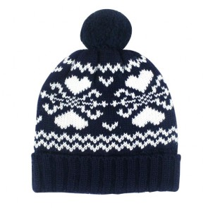 Custom Folding Jacquard Winter Bobble Hat