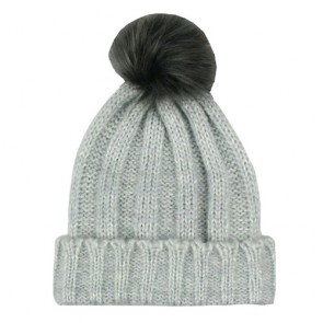 Cozy Classic Style Folding Pom Pom Bobble Hat