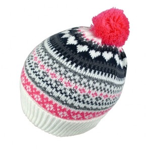 Custom Jacquard Winter Ladies Knitted Bobble Hat