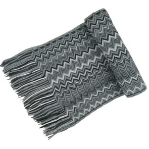 Unisex Grey Woven Diagonal Scarf
