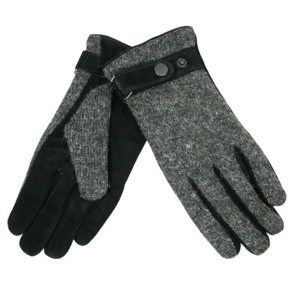 Custom Warm Fleece Lining Knitting Element Leather Driving Gloves