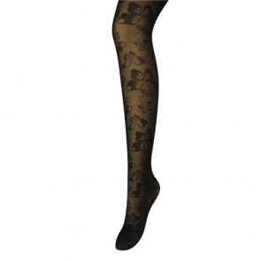 Butterfly Print Women's Sheer Black Tights