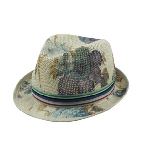 Cowboy Floral Trilby Paper Straw Hat