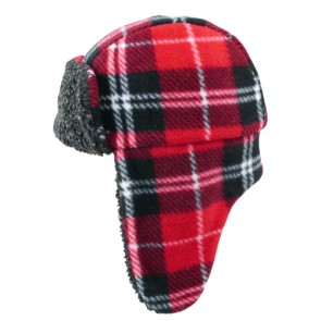 Custom Lamb Wool Grid Pattern Trapper Hat