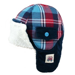 Cute Grid Pattern Children's Winter Warm Trapper
