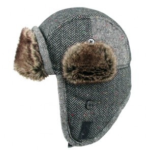 Herringbone Pattern Unisex Winter Wool Trapper Hat