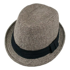 Men's Herringbone Trilby Fedora Hat with Hatband