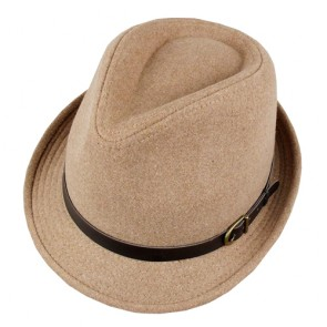 Men's Short Brim Trilby Fedora Hat with Belt