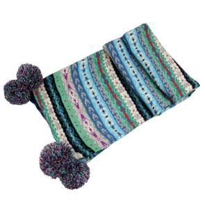 Winter Knitted Scarf with Pom Pom