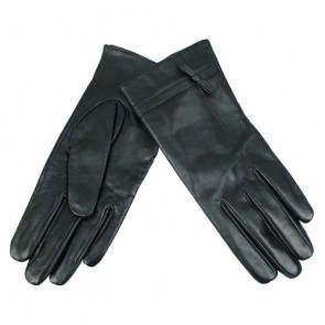 Bow trimmed Graceful Women's Leather Gloves