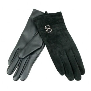 Elegant Ring Trimmed Winter Leather Gloves