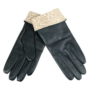 Fashion Leopard Skin Designed Leather Gloves