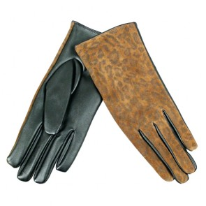 Custom Women's Leopard Warm Leather Gloves